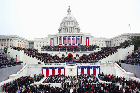 An estimated 600,000 braved cold temperatures to gather at the Capitol for Barack Obama's second inauguration. Photo via The New York Times.