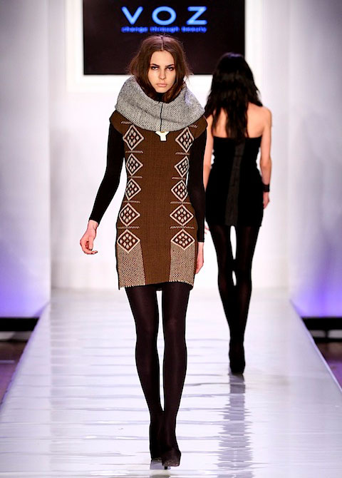 Che dress (chocolate, 1005 hand-loomed wool and dyed with mineral clays) accessorized with a Mikuti pendant