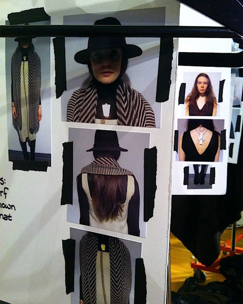 Inspiration and styling boards for VOZ's Autumn/Winter 2013 presentation. Photo by Abigail Doan