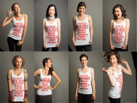 Sustainable fashion influencers modeling tanks from EILEEN FISHER's #thxverymuch campaign
