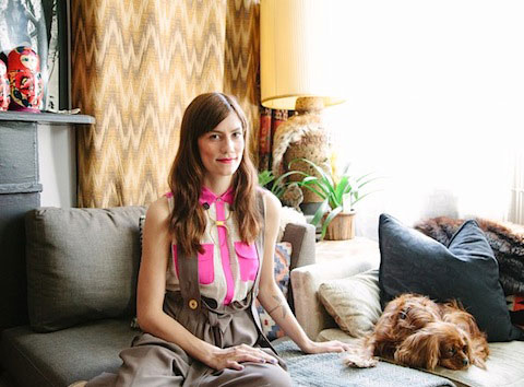 Gretchen Jones wearing her own designs and Sassa Björg trousers from Fete for the Senses in an interview for Rue Magazine (photo courtesy of the designer and Rue Magazine)