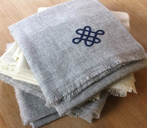 Organic, undyed cashmere shawl by Fibre Tibet
