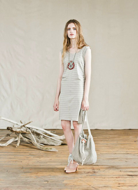 Feral Childe's Turnip Dress in organic cotton jersey paired with Erika Somogyi jewelry