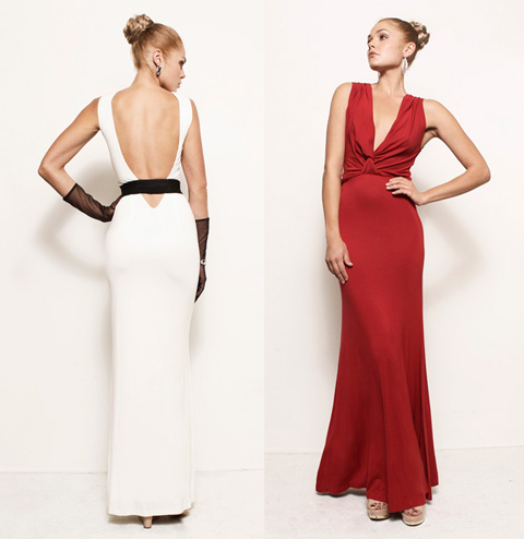Backless dress and draped reversible dress by Frock Los Angeles