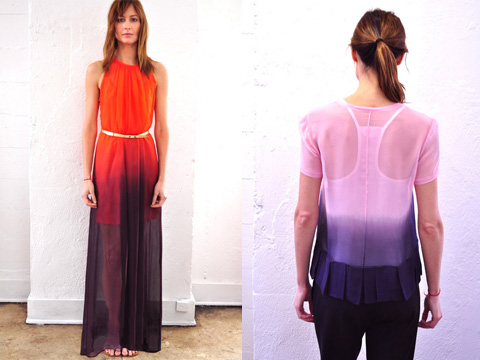 Hand dip dyed silk pieces by Jill Aiko Yee