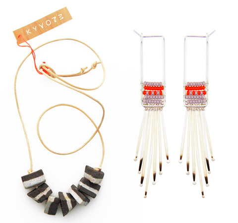 Ceramic beaded necklace and Huilo-Huilo earrings by KYYOTE