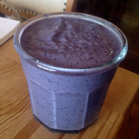 Blueberry/vanilla/almond milk shake — one of our favorites.