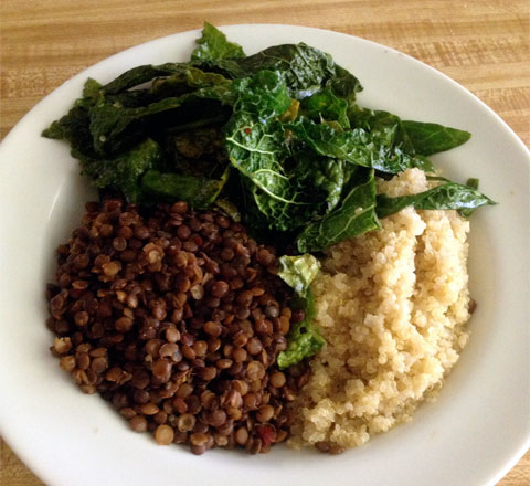 Lunch is your biggest meal of the day, so it's important to make sure to eat plenty. Here, I had lightly sauteed kale, quinoa and lentils.