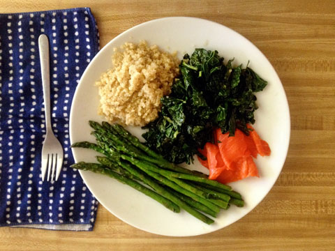 Another lunch, featuring kale, quinoa, asparagus and wild-caught salmon.