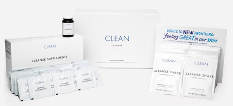 The Clean Program kit, complete with shake packets, supplements, an easy-to-read manual, recipes and a pocket guide to bring when you eat out.