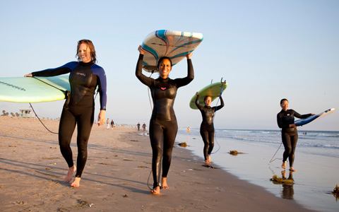 Breast cancer survivors hit the waves at Keep A Breast and Calavera's Survivor Surf event in Santa Monica.