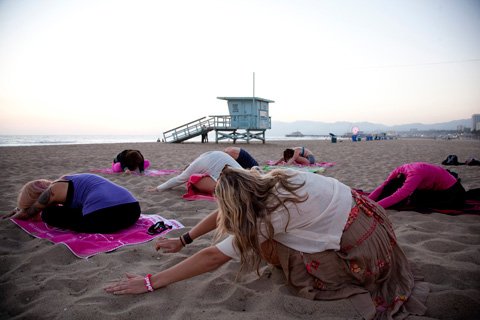 Beach yoga in Santa Monica for young breast cancer survivors