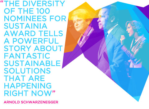 """The diversity of the 100 nominees for Sustainia Award tells a powerful story about fantastic sustainable solutions that are happening right now."" - Arnold Schwartzenegger"
