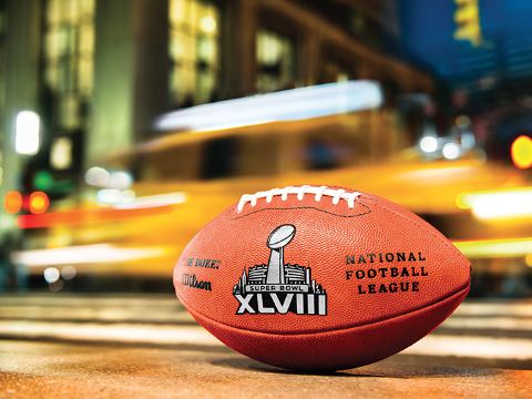 The official Super Bowl XLVIII Ball. No stripes. Photo by Esther Nisanova