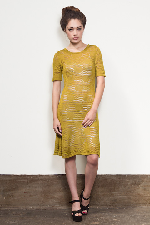 Myrrhia gold polka dot dress