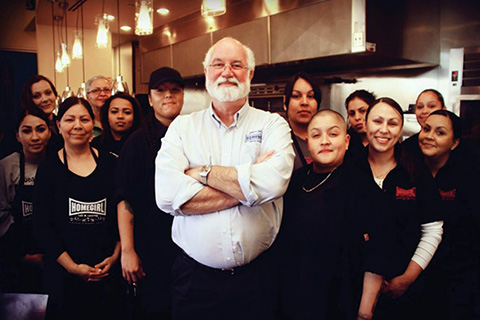 Father Greg Boyle with Homeboy employees